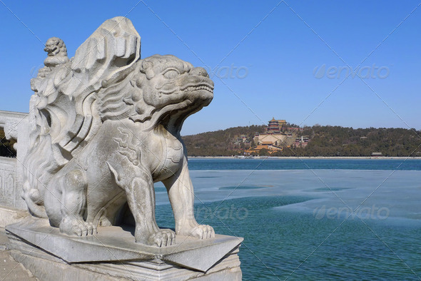 Imperial guardian lion in the Summer Palace - Stock Photo - Images