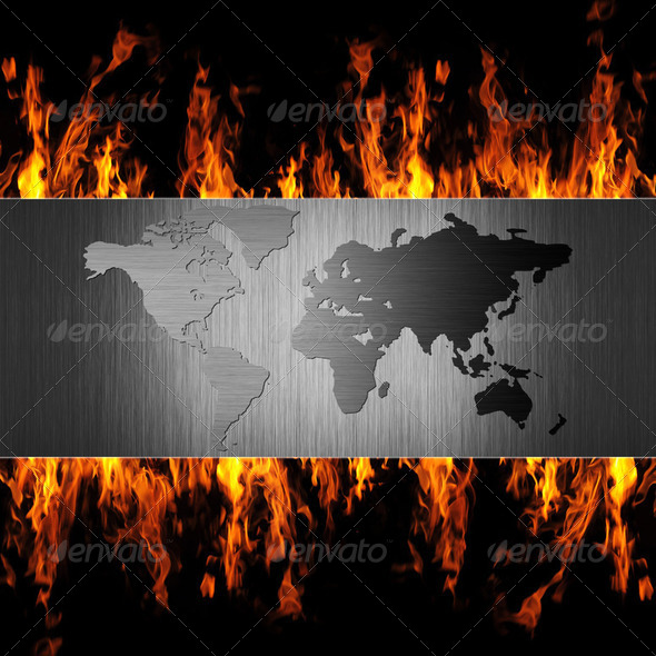 abstract metal world map on fire flame - Stock Photo - Images