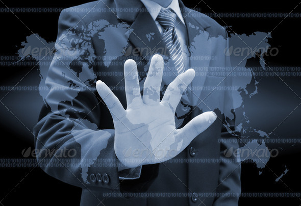 businessman hand pushing a button on a touch screen interface  - Stock Photo - Images