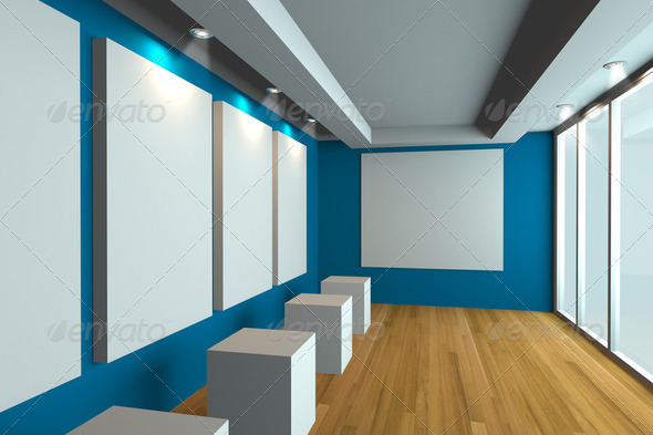 Gallery The picture blue wall - Stock Photo - Images