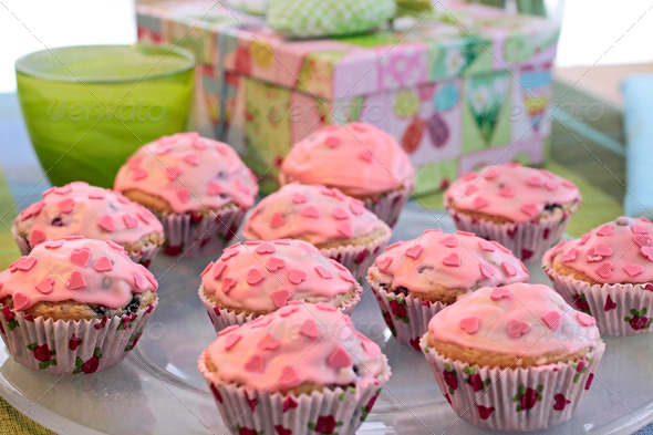 Pink Heart Muffins - Stock Photo - Images