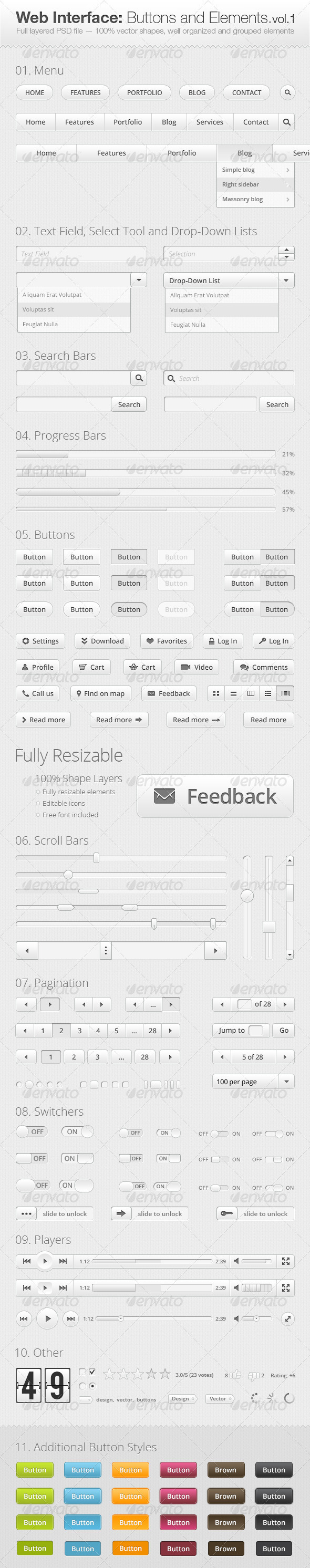 GraphicRiver Web Interface Buttons and Elements Collection 3346763
