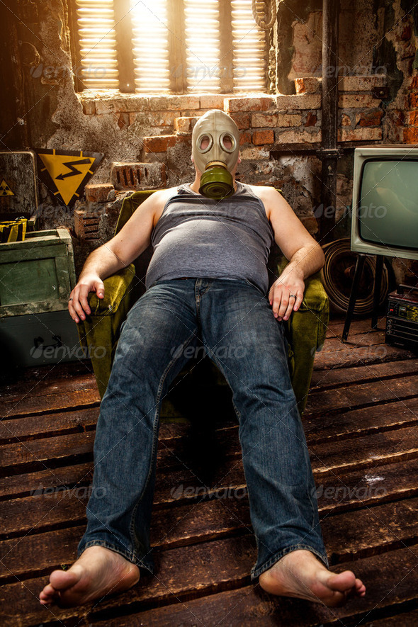 man in a gas mask - Stock Photo - Images