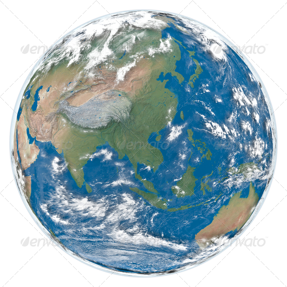 Model of Earth facing Asia - Stock Photo - Images