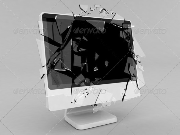 Monitor with broken screen 2 - Stock Photo - Images