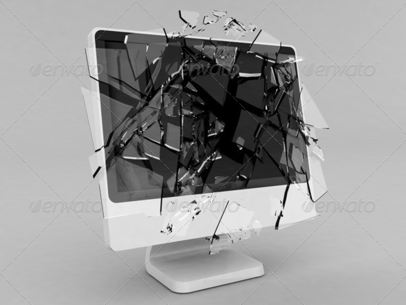 Monitor with shattered glass screen - Stock Photo - Images