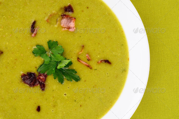 Fresh pea soup. - Stock Photo - Images