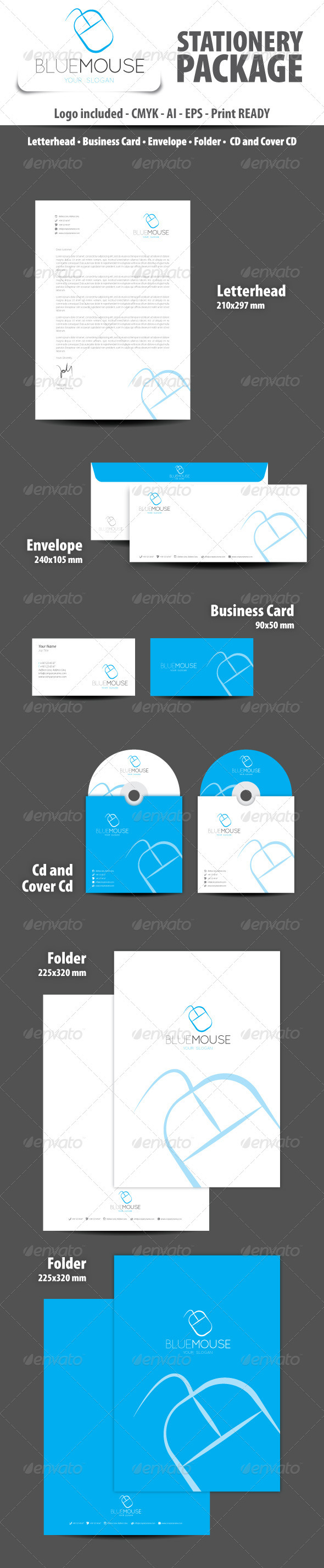 GraphicRiver Blue Mouse Stationery Package 3346910