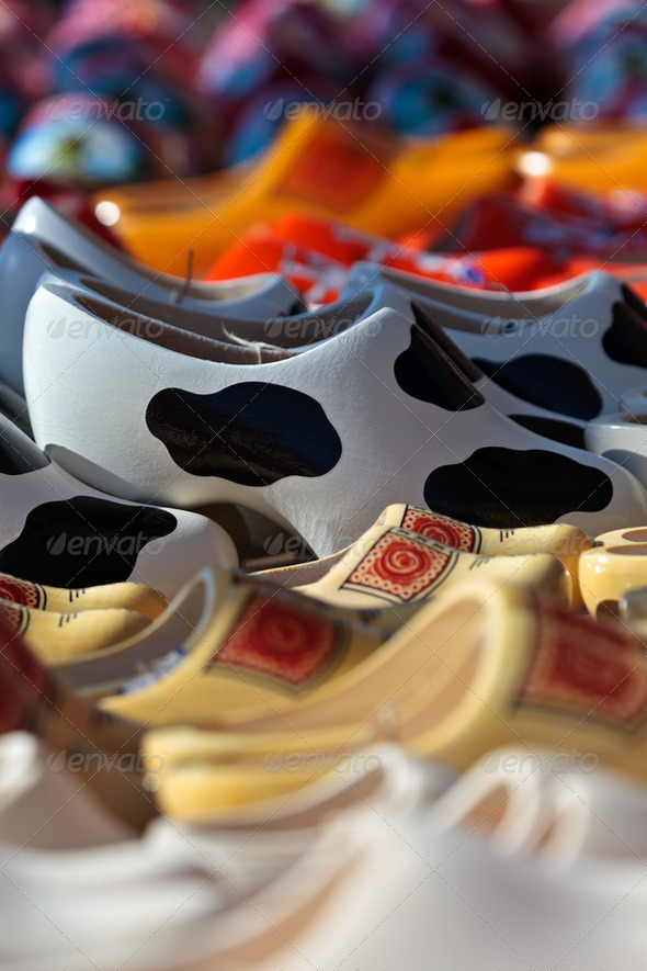 Different styled clogs on a tourist market - Stock Photo - Images