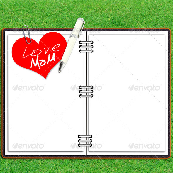 Paper note book leather cover with pen and red heart paper love mum over grass - Stock Photo - Images
