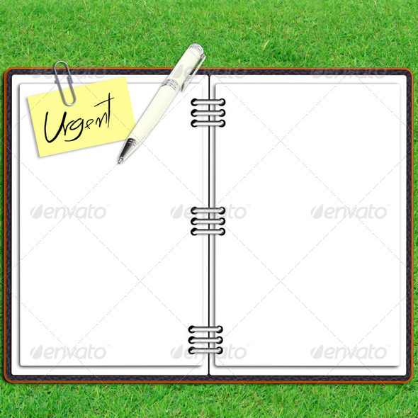 Paper note book leather cover with pen and sticky paper urgent text over grass - Stock Photo - Images