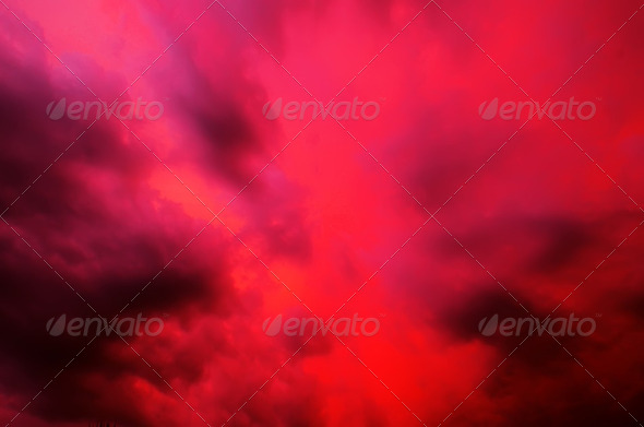 abstract clouds red - Stock Photo - Images