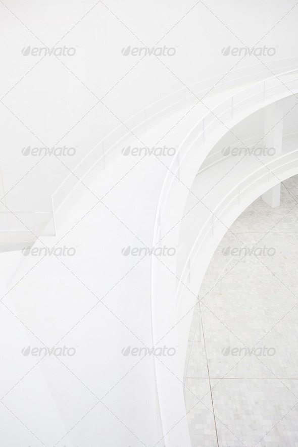 Double elevated walkway, white minimal modern architecture detail - Stock Photo - Images