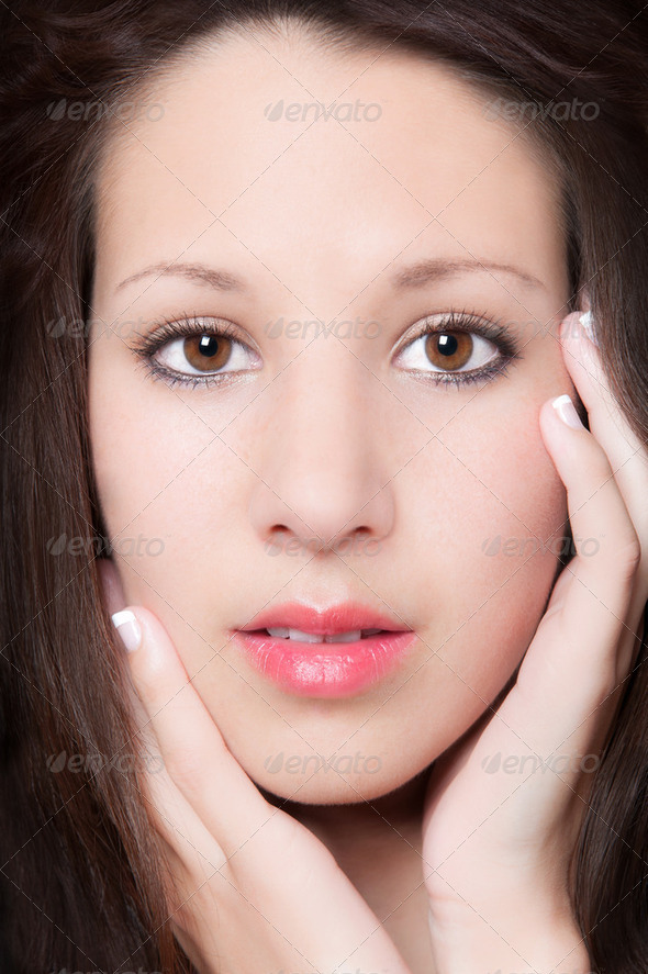 Sensual closeup portrait of beautiful young woman - Stock Photo - Images