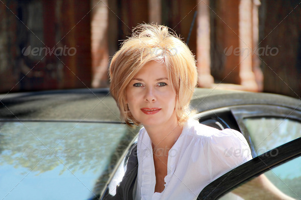 Portrait of pretty blond woman - Stock Photo - Images