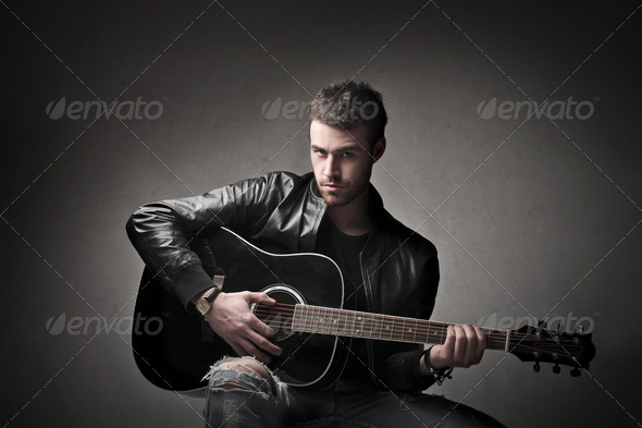 Guitarist Look - Stock Photo - Images