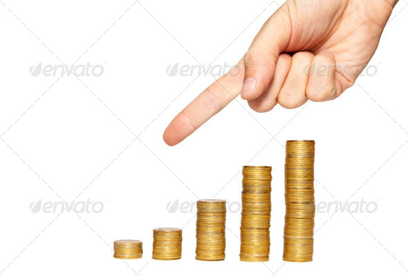 Concept of finance regression isolated on white. - Stock Photo - Images