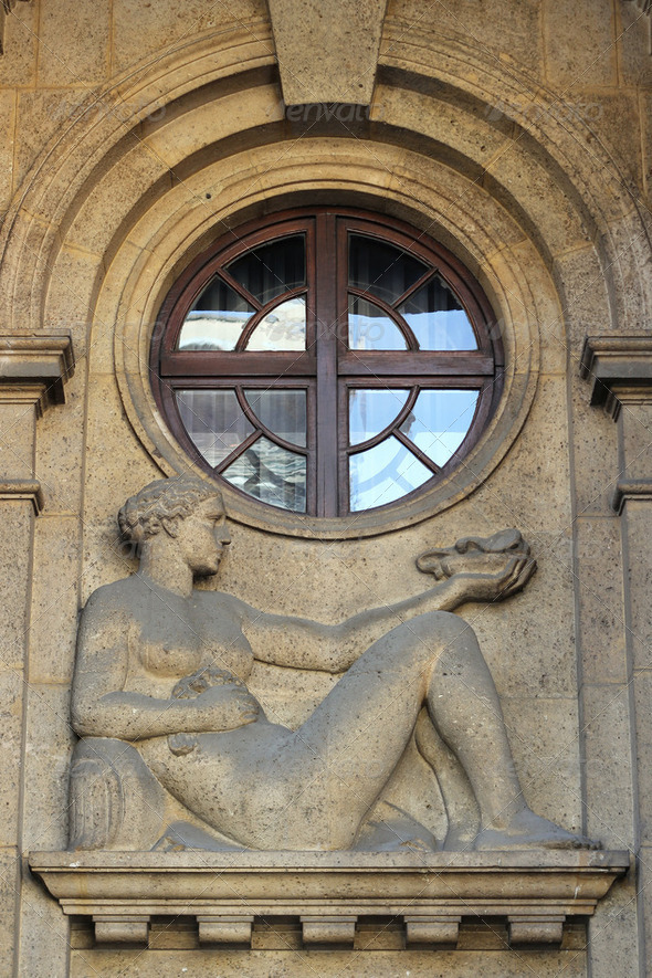 Building facade with relief of a woman in Zagreb, Croatia - Stock Photo - Images