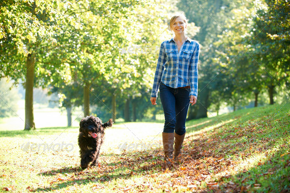 woman walking dog - Stock Photo - Images