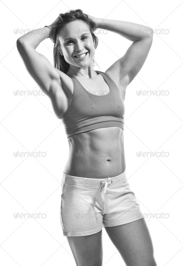 fitness brunette - Stock Photo - Images