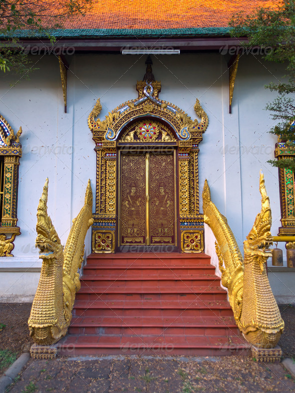 Entrance door of asian temple - Stock Photo - Images