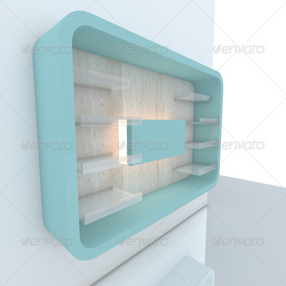 color blue shelf with wall - Stock Photo - Images
