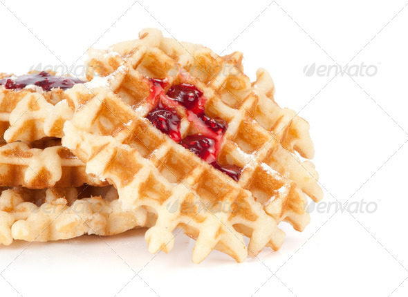 waffles with jam isolated on white - Stock Photo - Images