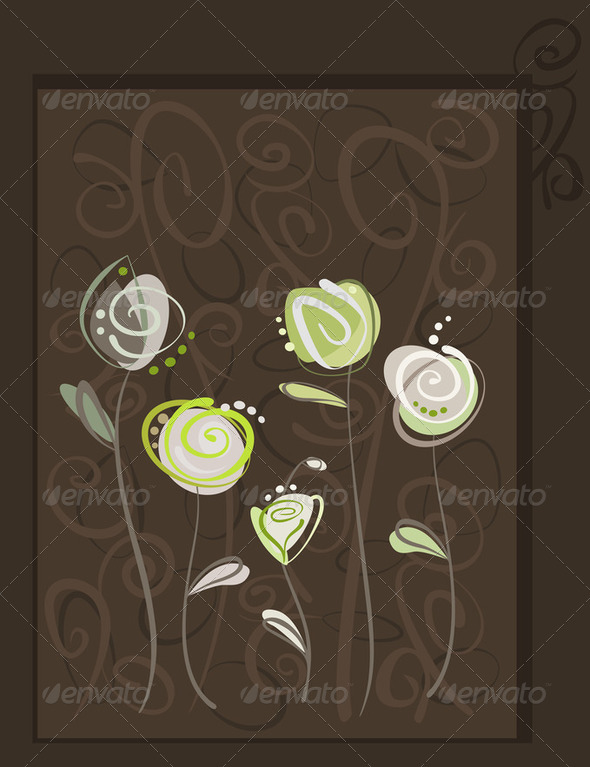 Abstract roses postcard. Floral pattern illustration - Stock Photo - Images