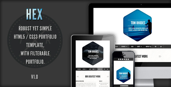 ThemeForest Hex One Page Responsive Portfolio Template 2950141