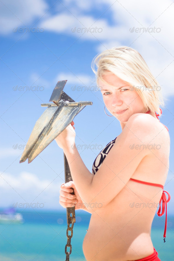 Woman With Anchor On Beach - Stock Photo - Images