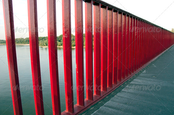 river big bridge red rails - Stock Photo - Images