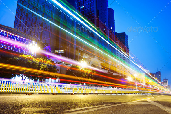 Nightscape Downtown  with  headlights trails - Stock Photo - Images