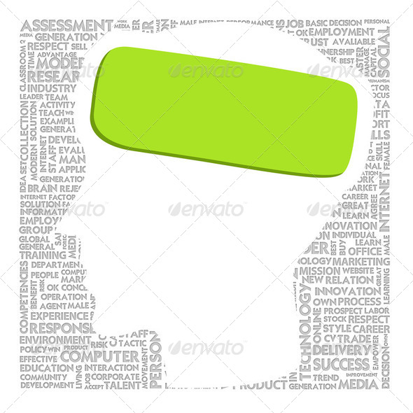 Head with green label model for project management - Stock Photo - Images