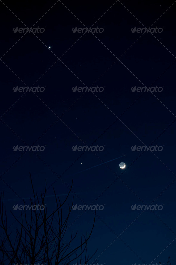 Crescent Moon with Jupiter and Venus - Stock Photo - Images