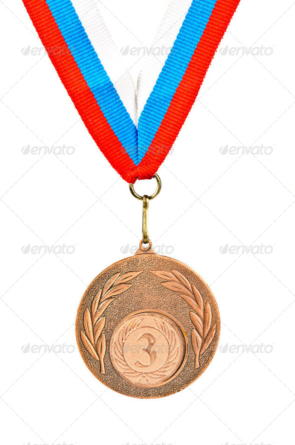 Sports Medal. Photos isolated on white background - Stock Photo - Images