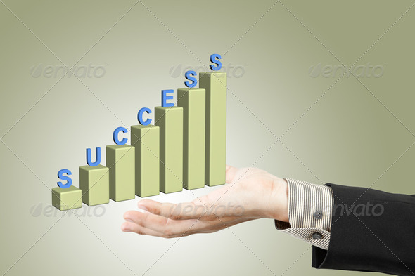 businessman hand and success graph - Stock Photo - Images