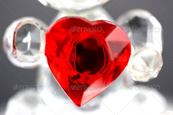 Red glass love heart - Stock Photo - Images