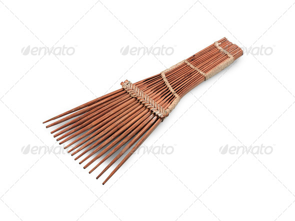 African-style hairbrush isolated on white - Stock Photo - Images