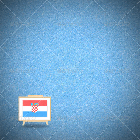 Flag croatia blue background (clipping path) - Stock Photo - Images