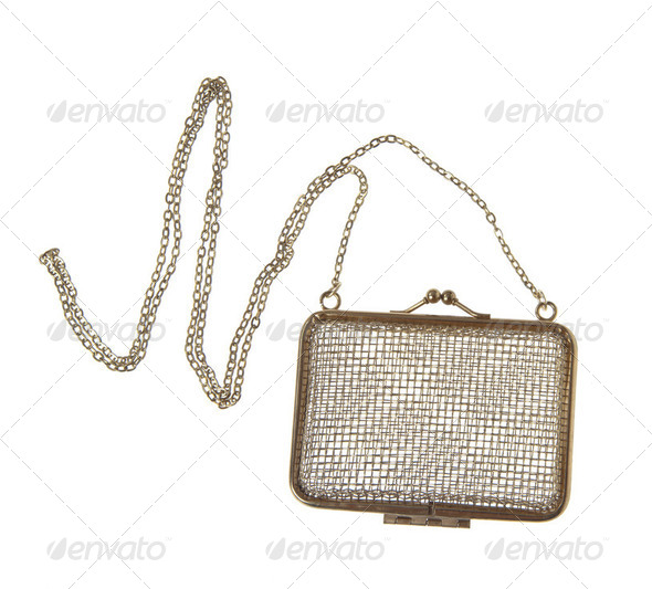 Golden clutch bag - Stock Photo - Images
