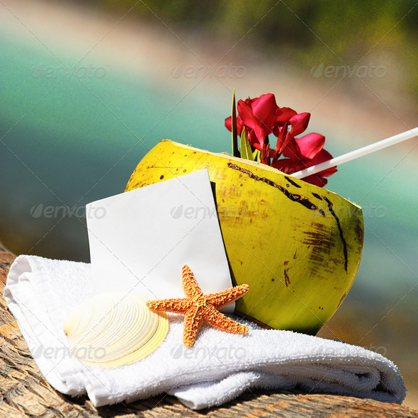 Caribbean paradise beach coconuts cocktail - Stock Photo - Images