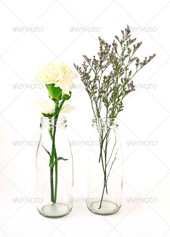 flowers in a bottle on white background - Stock Photo - Images
