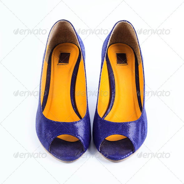 Purple shoes isolated on white background - Stock Photo - Images