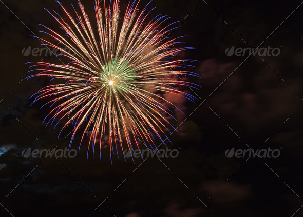 fireworks with night - Stock Photo - Images