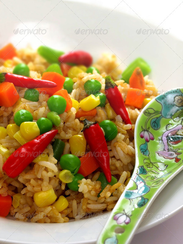 spicy asian fried rice - Stock Photo - Images