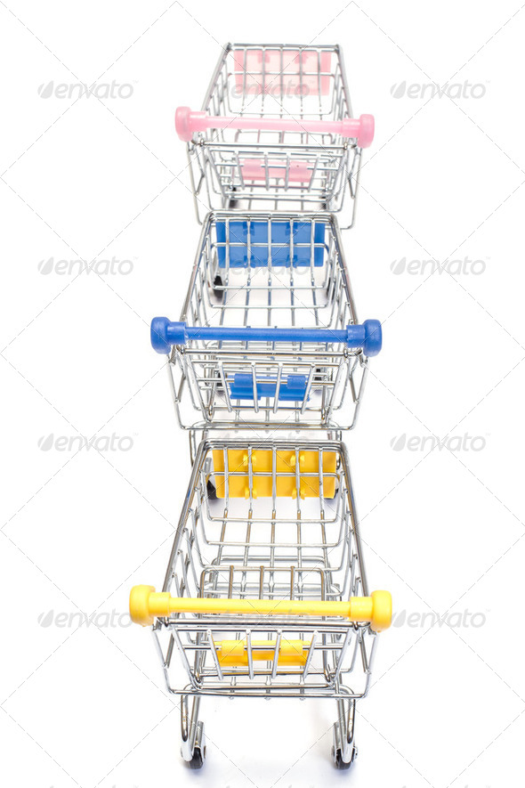 Shopping carts on white - Stock Photo - Images
