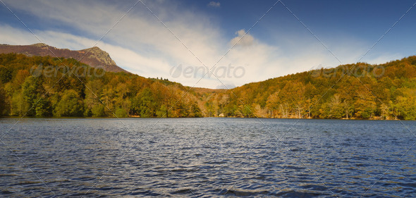 Autumn in Lake Santa Fe, Montseny. Spain - Stock Photo - Images
