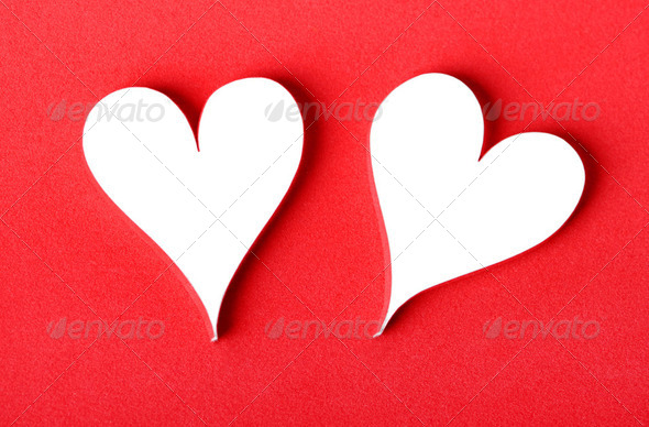 Valentine&#x27;s paper hearts - Stock Photo - Images