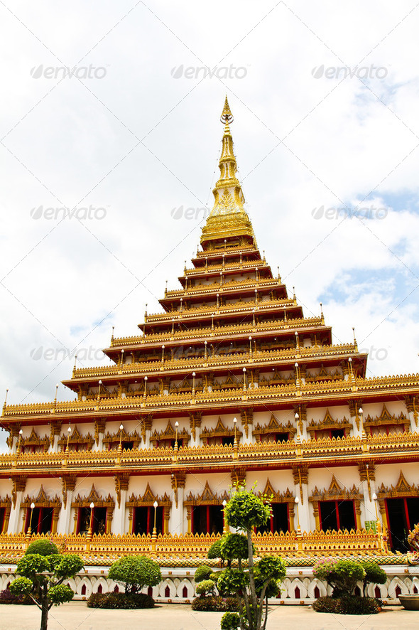 Temple in Thailand is named Phra-Mahathat-Kaen-Nakhon, Khon Kaen - Stock Photo - Images