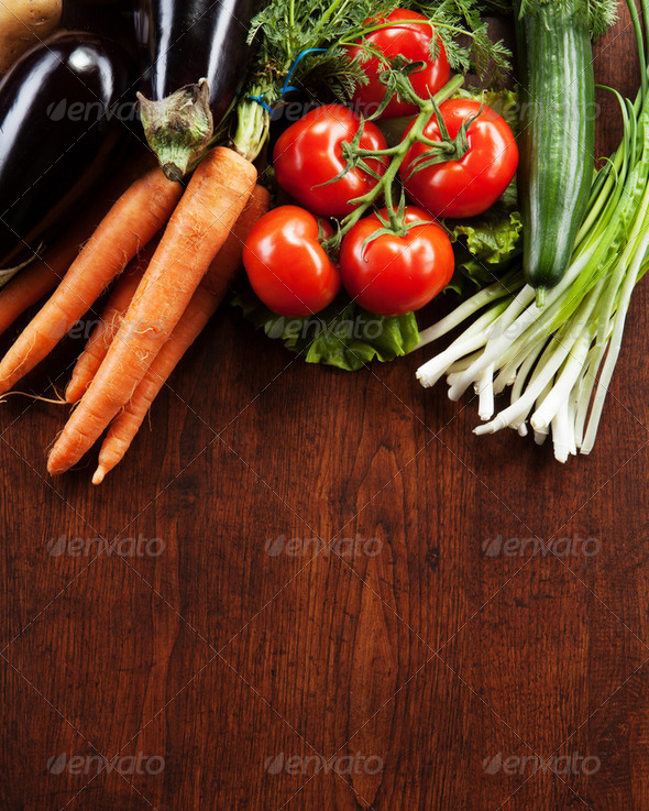 abstract design background vegetables on a wooden background - Stock Photo - Images